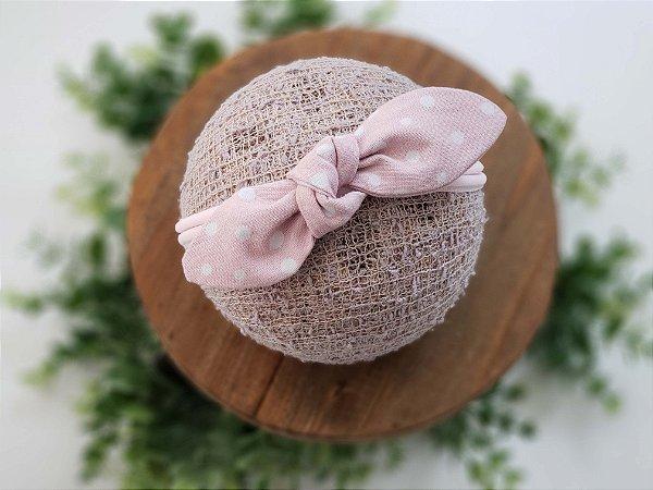 Laço Tecido Rosa Poá Meia de Seda Médio