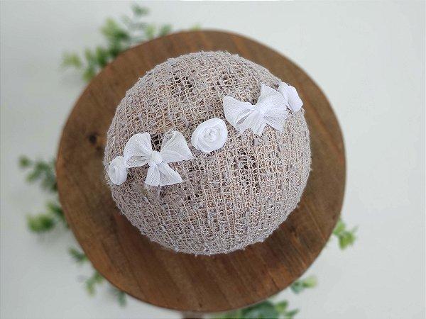 Headband Lacinho e Florzinha Branco