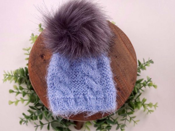 Touca Pompom Pêlo Azul
