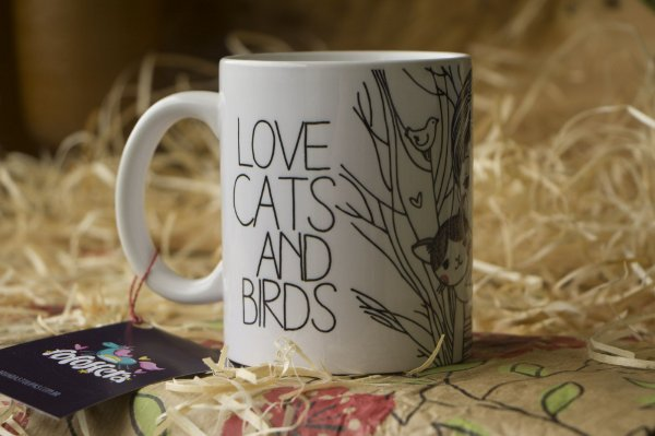 Caneca Love Cats and Birds