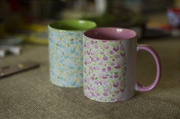 Conjunto Flores Aquareladas - Rosa e Verde
