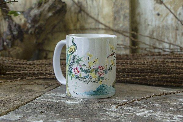 Caneca Pintura Tradicional Chinesa - Pavão