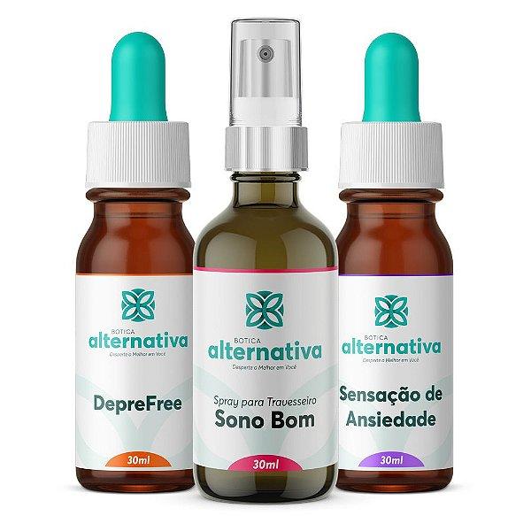 Alternativa Trio para Ansiedade e Depressão - Floral + Homeopatia + Spray Travesseiro 30mL