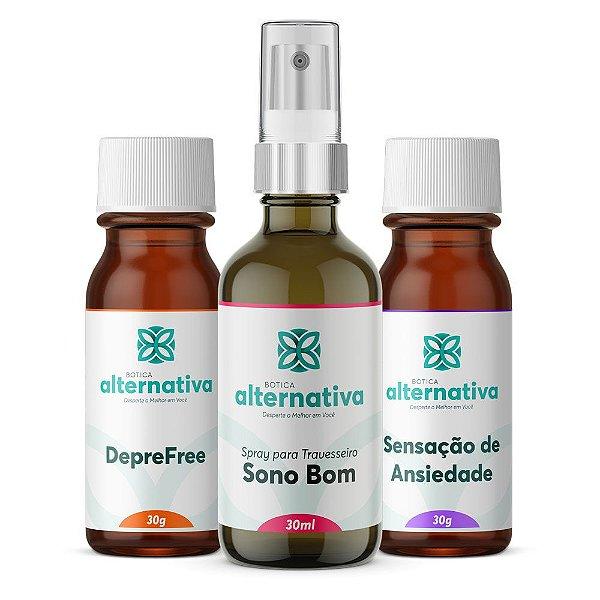 Alternativa Trio para Ansiedade e Depressão - Floral + Homeopatia + Spray Travesseiro 30g