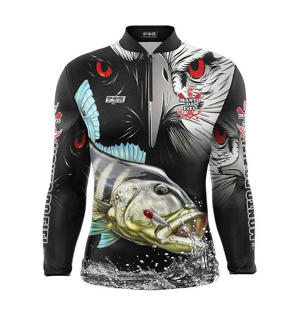 Camisa de Pesca Proteção Solar FPU 50+ Marca Pqs Fishing - Futebol -  Gavião - Modelo 02 - Tucunaré