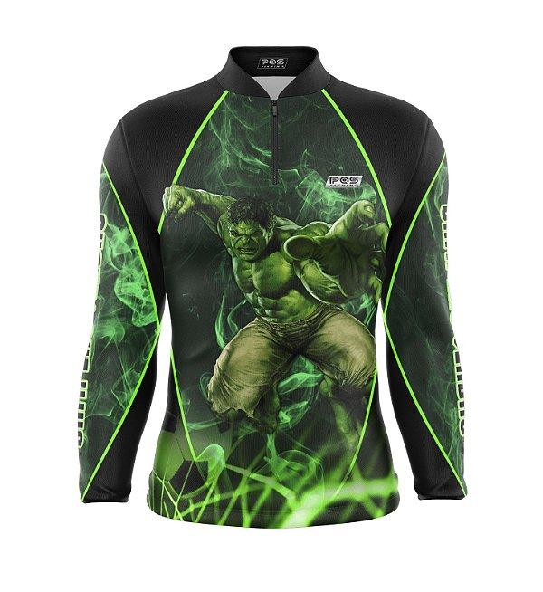 Camisa de Pesca Proteção Solar FPU 50+ Marca Pqs Fishing - Futebol - Gigante Verde - Modelo 01