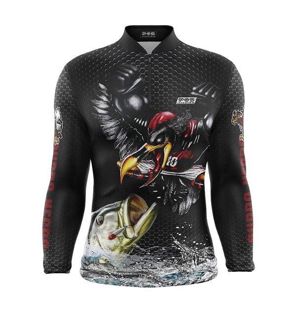 Camisa de Pesca Proteção Solar FPU 50+ Marca Pqs Fishing - Futebol - Mengo - Modelo 01 - Tucunaré