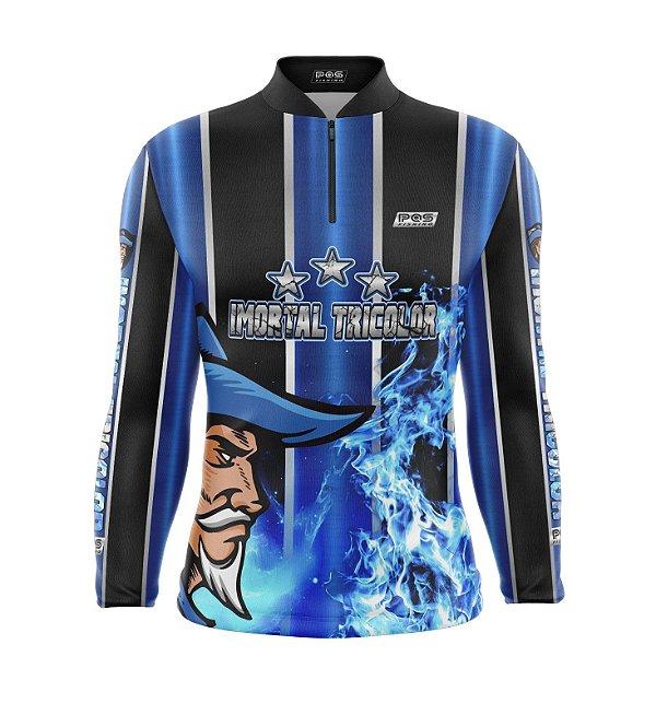 Camisa de Pesca Proteção Solar FPU 50+ Marca Pqs Fishing - Futebol - Imortal Tricolor - Modelo 01