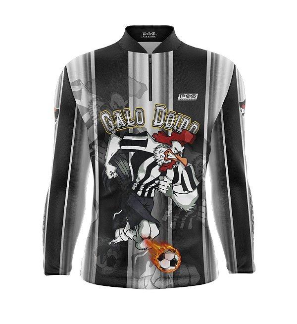 Camisa de Pesca Proteção Solar FPU 50+ Marca Pqs Fishing - Futebol - Galo Doido - Modelo 01