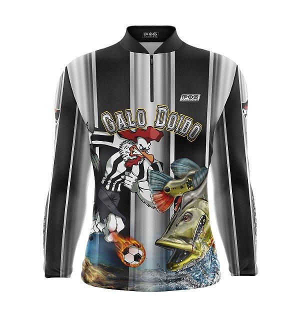 Camisa de Pesca Proteção Solar FPU 50+ Marca Pqs Fishing - Futebol - Galo Doido - Modelo 01- Tucunaré