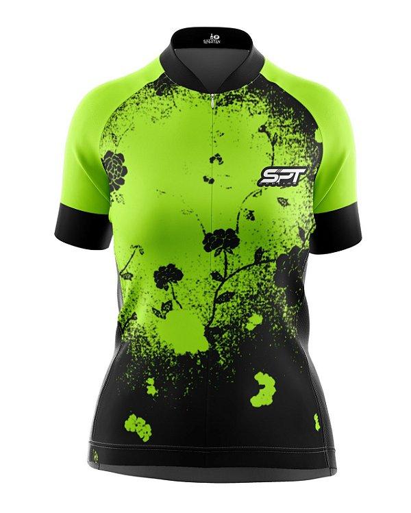 Camisa de Ciclismo Manga Curta Feminina Proteção Solar FPU 50+ Marca SPT - 05 - Verde