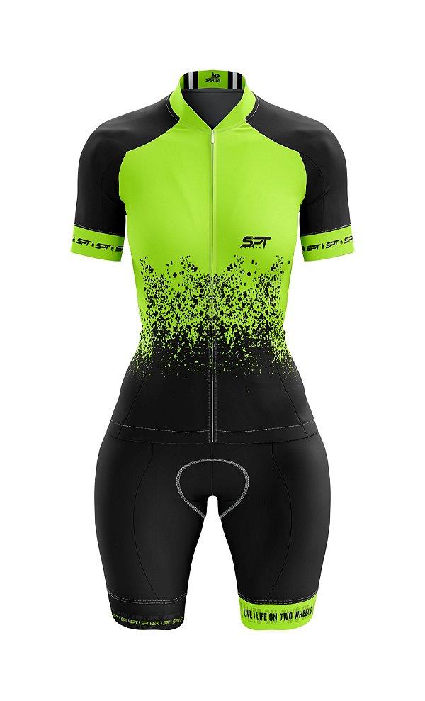 Macaquinho de Ciclismo Manga Curta  Feminino - Forro em gel - Proteção Solar FPU 50+ Marca SPT - 01