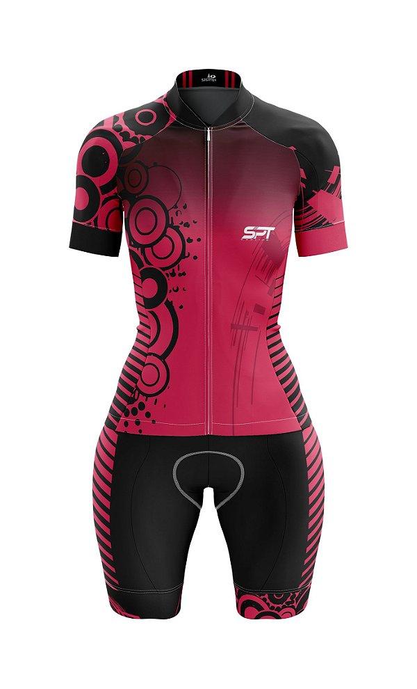 Macaquinho de Ciclismo Manga Curta  Feminino - Forro em gel - Proteção Solar FPU 50+ Marca SPT - 03