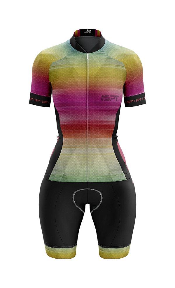 Macaquinho de Ciclismo Manga Curta  Feminino - Forro em gel - Proteção Solar FPU 50+ Marca SPT - 04