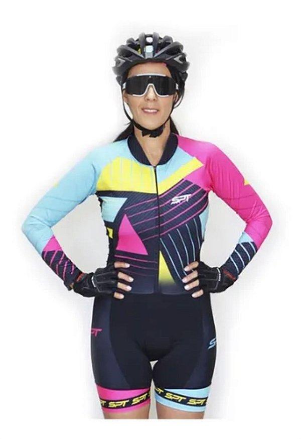 Macaquinho De Ciclismo Feminino Spt Ref 01 M/ L Forro Em Gel
