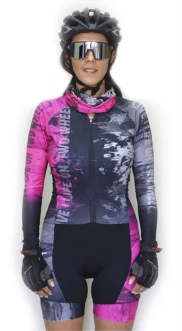 Macaquinho De Ciclismo Feminino Spt Ref 03 M/ L Forro Em Gel