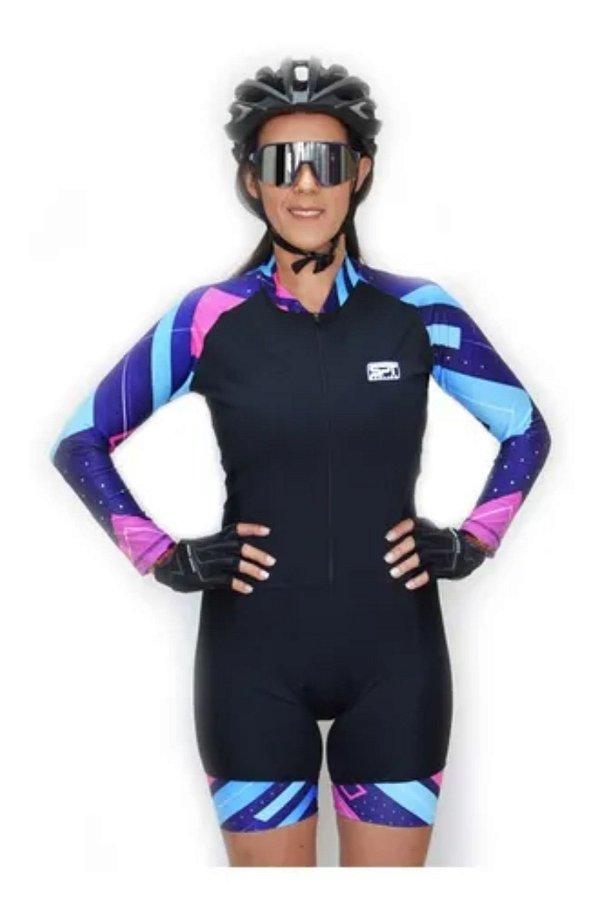 Macaquinho De Ciclismo Feminino Spt Ref 07 M/ L Forro Em Gel