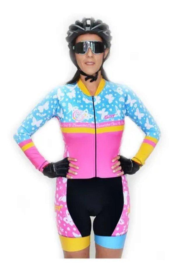 Macaquinho De Ciclismo Feminino Spt Ref 09 M/ L Forro Em Gel