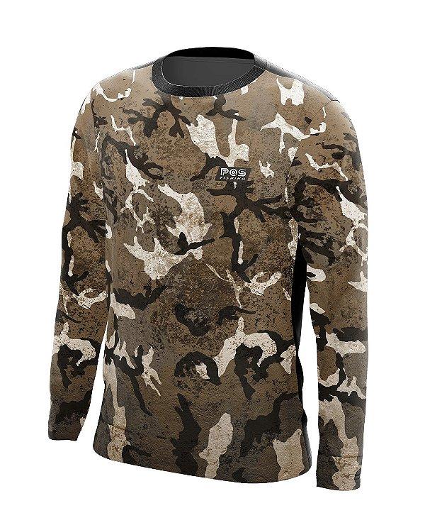Camisa de Pesca Gola Redonda Ref. 03 Estampa Camuflado