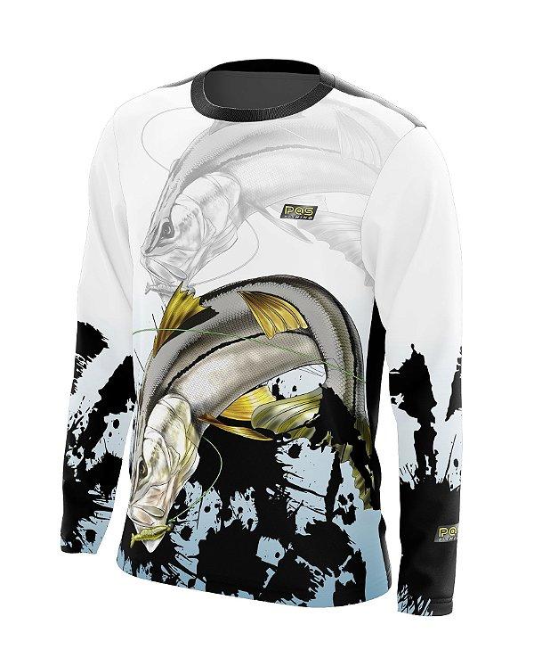 Camisa de Pesca Gola Redonda Ref. 08 Estampa Robalo