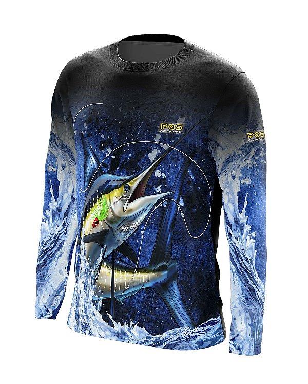 Camisa de Pesca Gola Redonda Ref. 09 Estampa Marlin