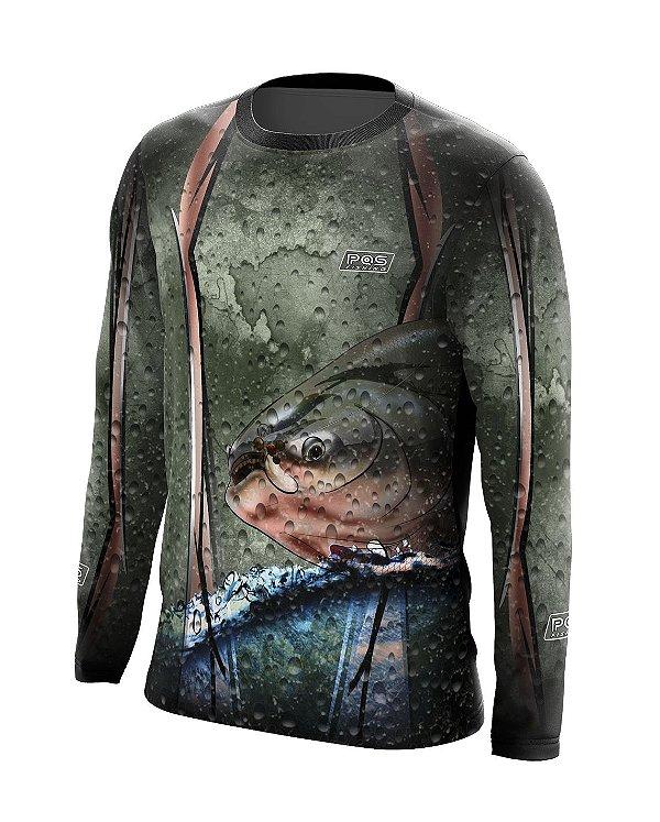 Camisa de Pesca Gola Redonda Ref. 10 Estampa Tambaqui