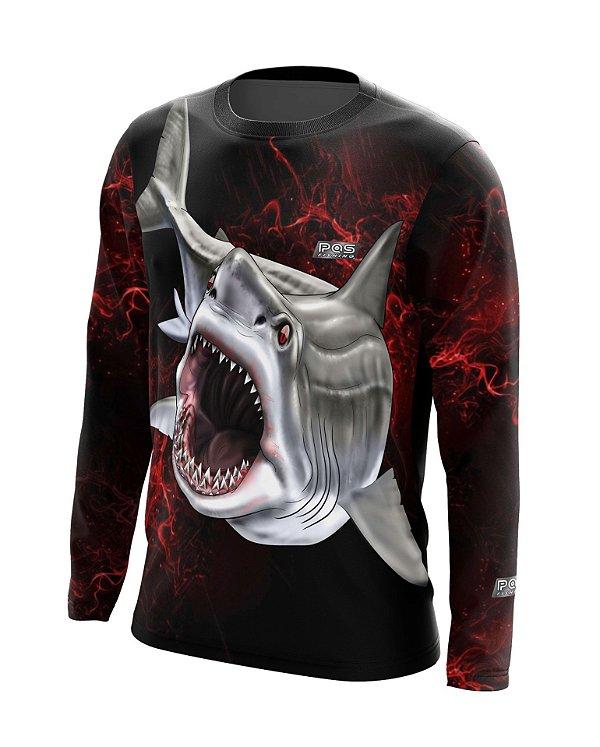 Camisa de Pesca Gola Redonda Ref. 24 Estampa Shark Attack