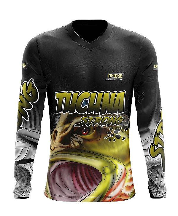 Camisa de Pesca Gola V Ref. 01 Estampa Tucunaré Strong