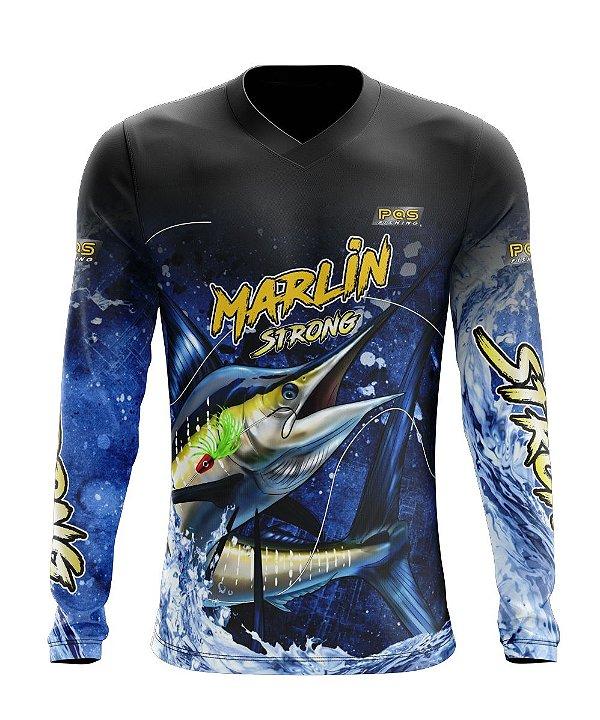 Camisa de Pesca Gola V Ref. 04 Estampa Marlin Strong