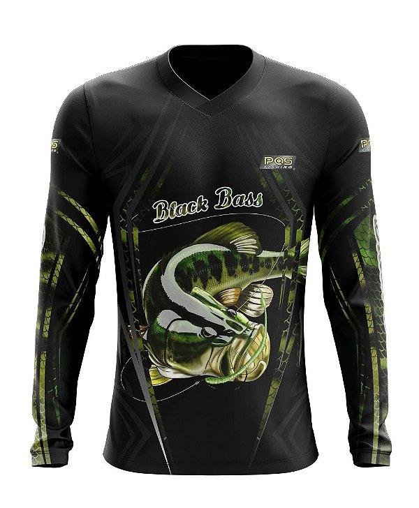 Camisa de Pesca Gola V Ref. 06 Estampa Black Bass
