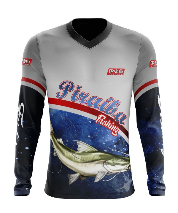Camisa de Pesca Gola V Ref. 07 Estampa Piraiba