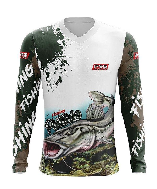 Camisa de Pesca Gola V Ref. 08 Estampa Pintado