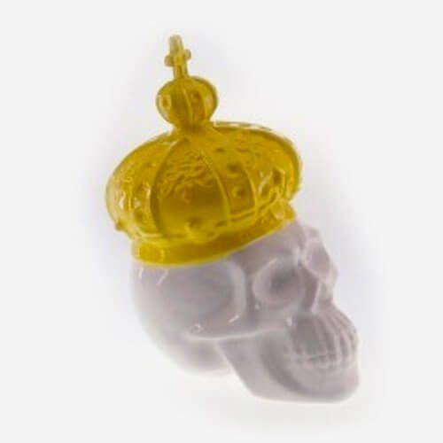 Cofre Decorativo Caveira Coroa Amarela