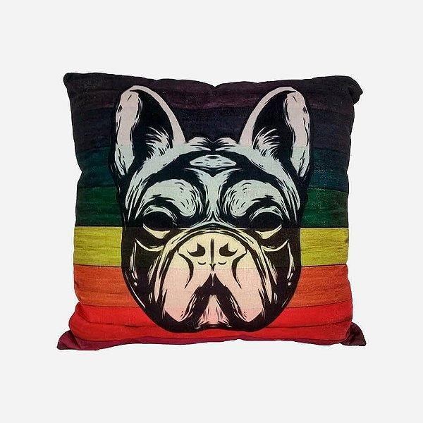 Almofada Bulldog Fundo Colorido