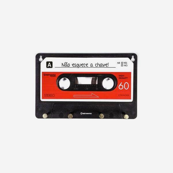 Porta Chave Fita Cassete Vermelha