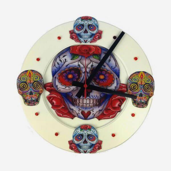 Relógio de Parede Caveira Mexicana