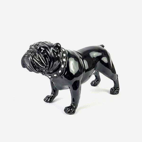 Bulldog Decorativo Preto com Coleira