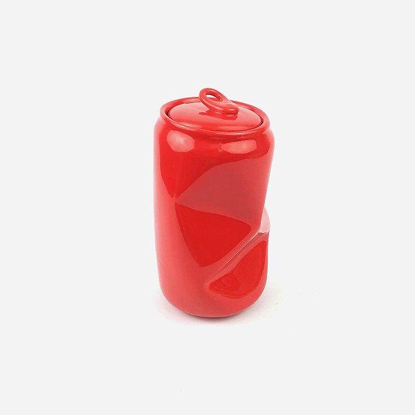 Pote Lata Amassada Vermelha