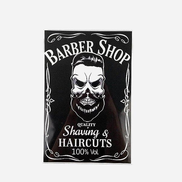 Placa Decorativa Caveira Barber Shop