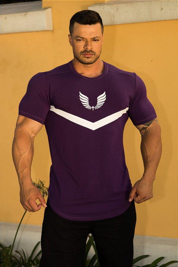 Camiseta Masculina Estampada Longline com Elastano Roxa - Boulders Barbells