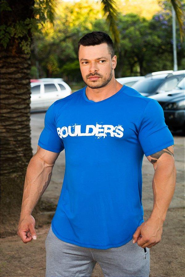 Camiseta Masculina Estampada Longline com Elastano Azul -  BigBoulders