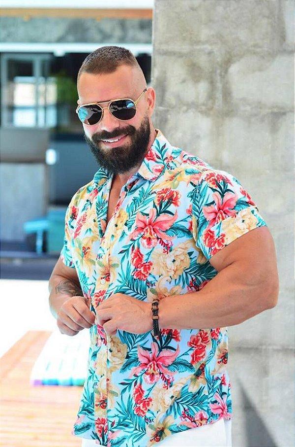 Camisa Masculina Floral Tropical Slim