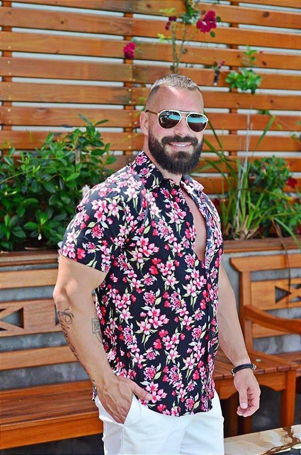 Camisa Masculina Floral Preta Slim