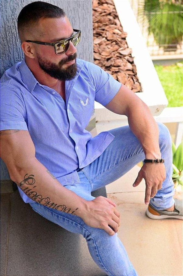 Camisa Masculina Listrada Slim