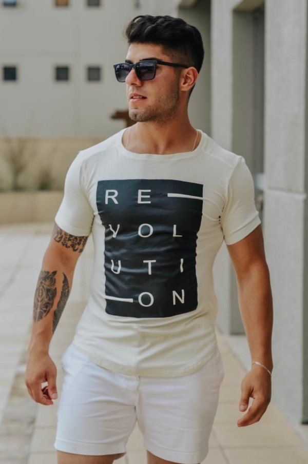 Camiseta Masculina Estampada Longline com Elastano Off White