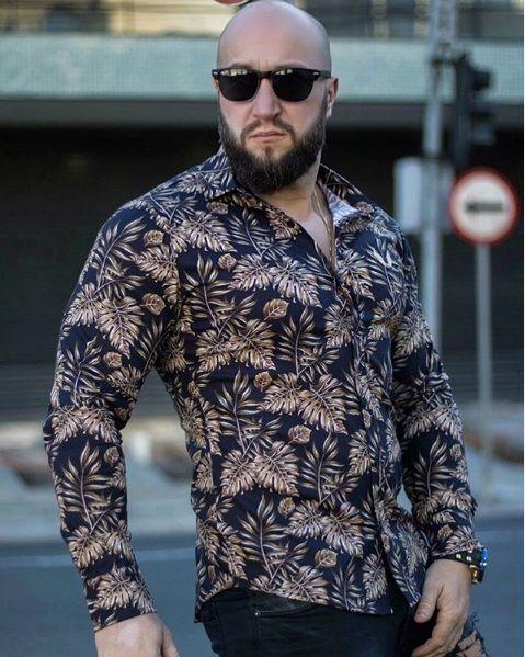 Camisa Masculina Slim Manga Longa com Elastano folhas douradas