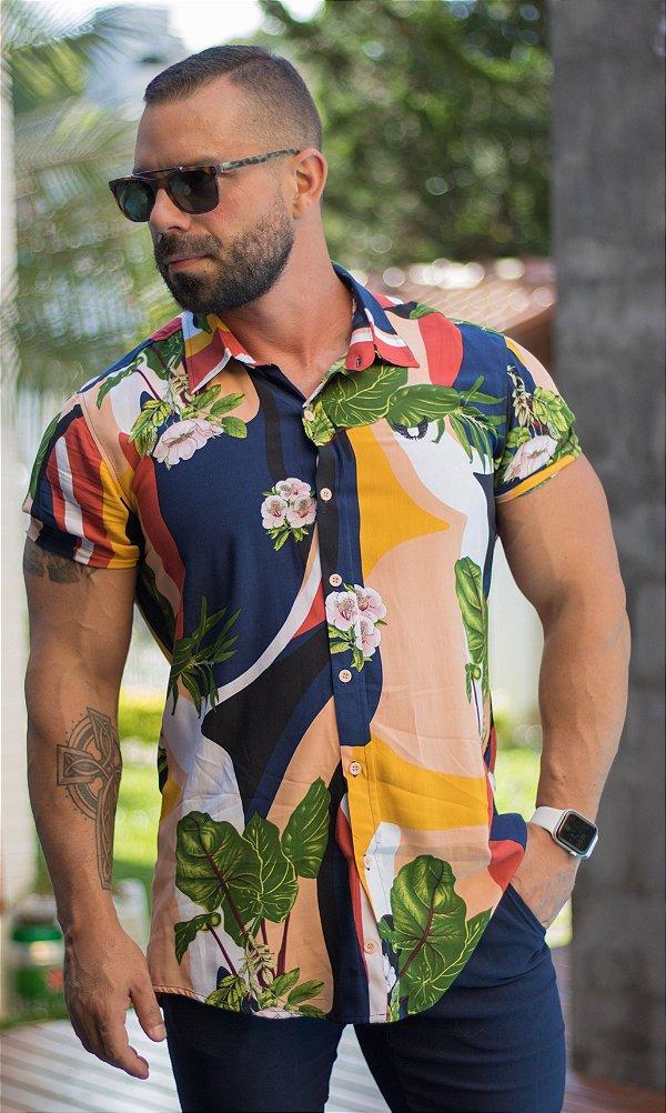Camisa Masculina Viscose Manga Curta Estampa Colorida