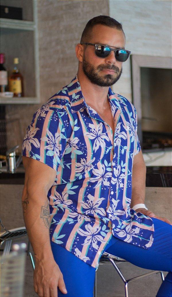 Camisa Masculina Viscose Manga Curta Estampada Floral