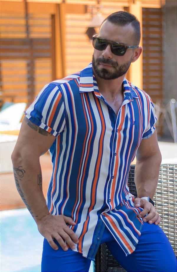 Camisa Masculina Viscose Manga Curta Listrada