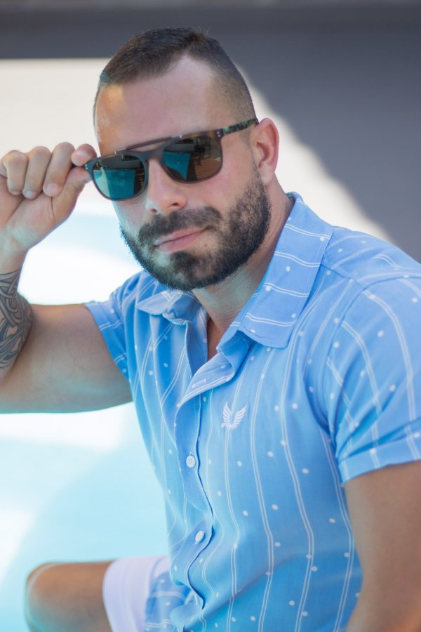 Camisa Masculina Manga Curta em Viscose Azul claro